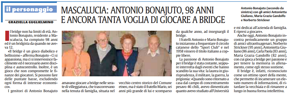 Articolo Giornale Antonio Bonajuto Sicilia